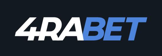 4raBet white & blue logo on a black background
