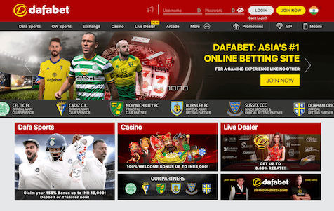 Dafabet India Homepage with Casino and Sports