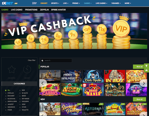 Casino Page at 1xBet & available slots