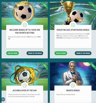 Screenshot of sportbook promotions at 22Bet