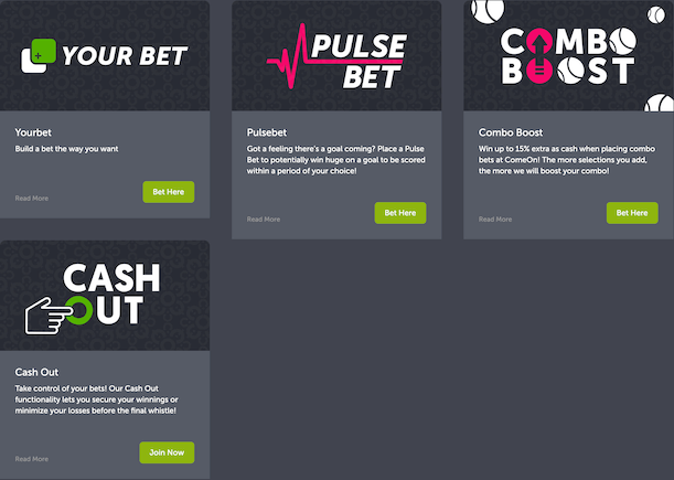Promotions available at ComeOn Bet India