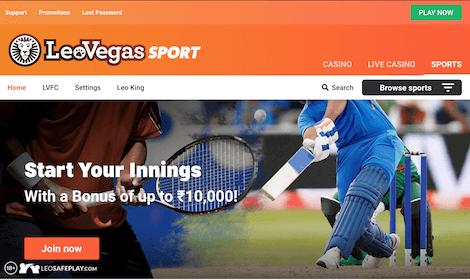 Homepage at LeoVegas India