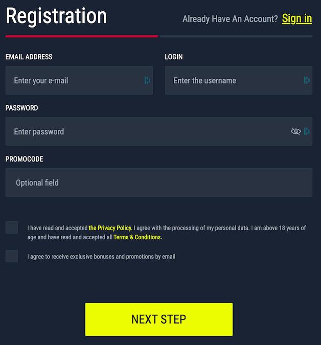 Registration form at Rabona