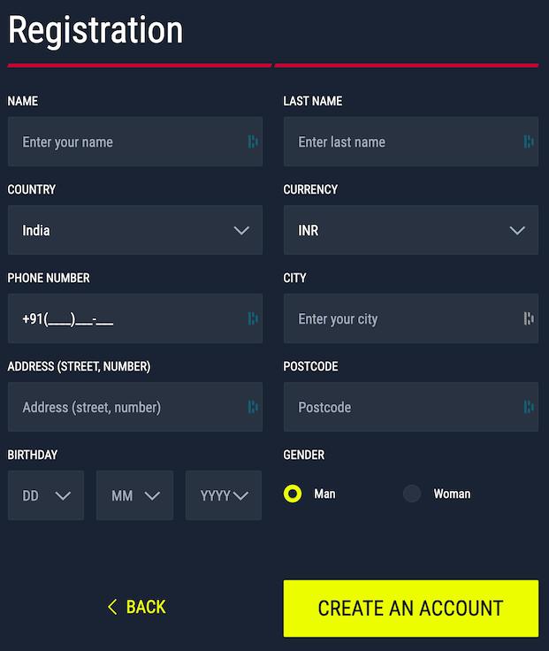 Registration form at Rabona step 2