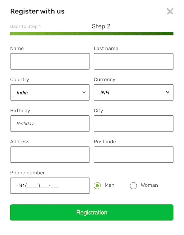 Registration Form at CampoBet, Second Step