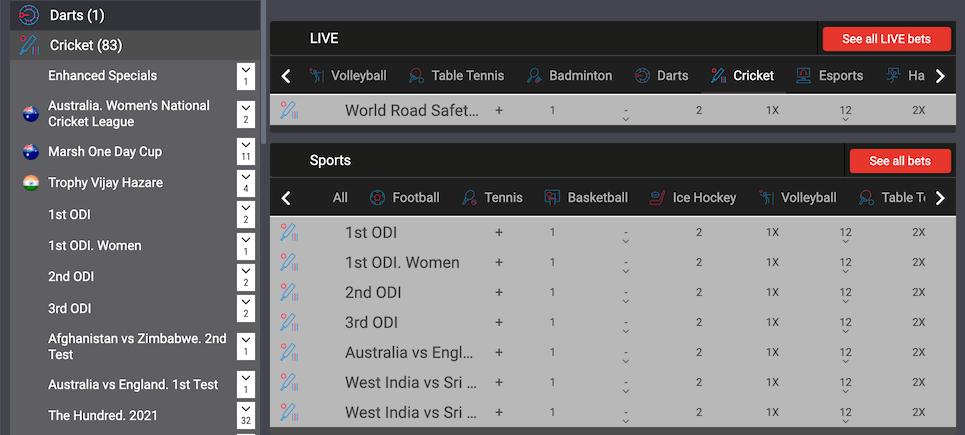 Sports Betting Selection at Megapari