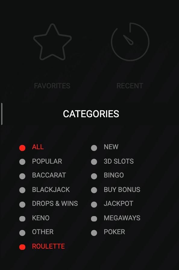 Casino Categories at Megapari