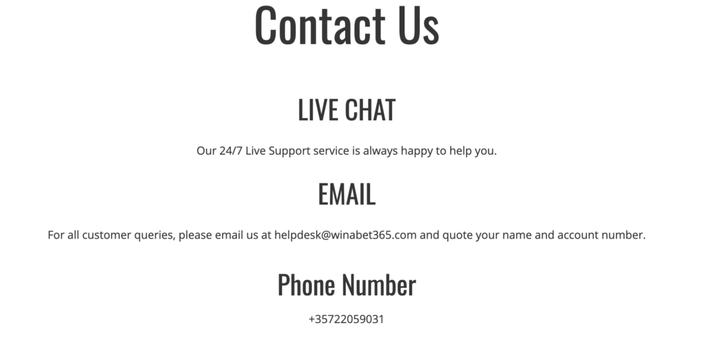 Contact Information for WINABET365