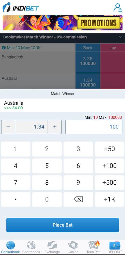 Betting slip at Indibet