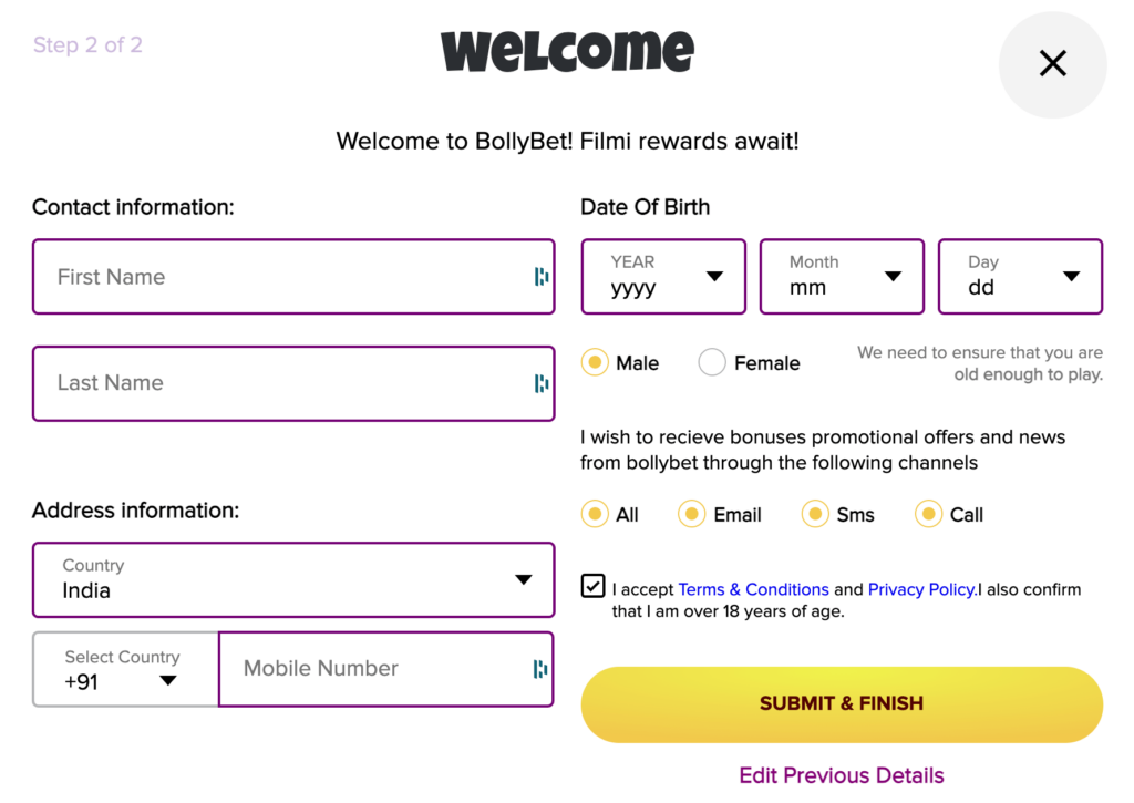 Registration process at Bollybet