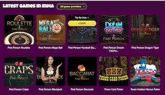 Selection of live casino games